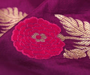 Magenta Banarasi Silk Fabric With Multi Floral Zari Highlights