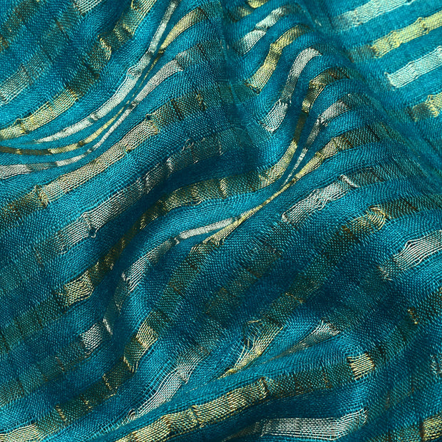 Blue Tussar Fabric With Silver And Gold Striped Zari Design