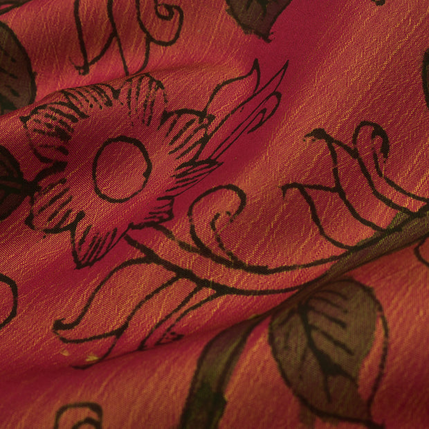 Dual Tone Pink And Orange Pen Kalamkari Fabric