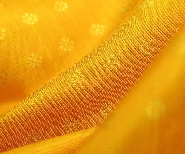 Mustard Kanchi Silk Fabric With Zari Kamalam Button Design Highlights