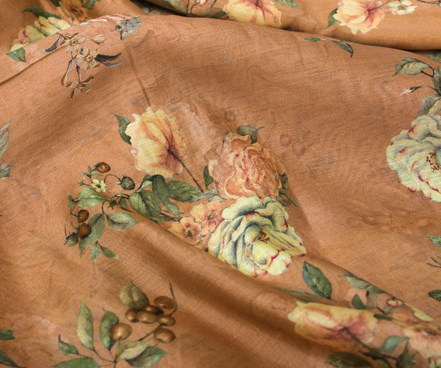 Sienna Brown Tussar Fabric with Floral Printed Design with Zari Highlights