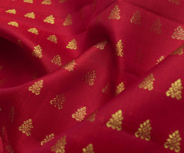 Red Kanchi Silk Fabric With Claver Zari Button Design Highlights