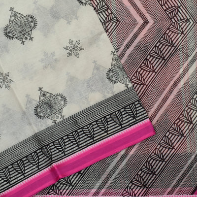 White Printed Bengal Cotton Saree With Pink Printed Blouse