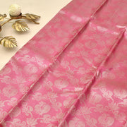 Rose Kanchi Silk Saree With Grey Blouse