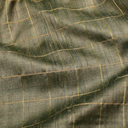 Grey Checked Tussar Fabric