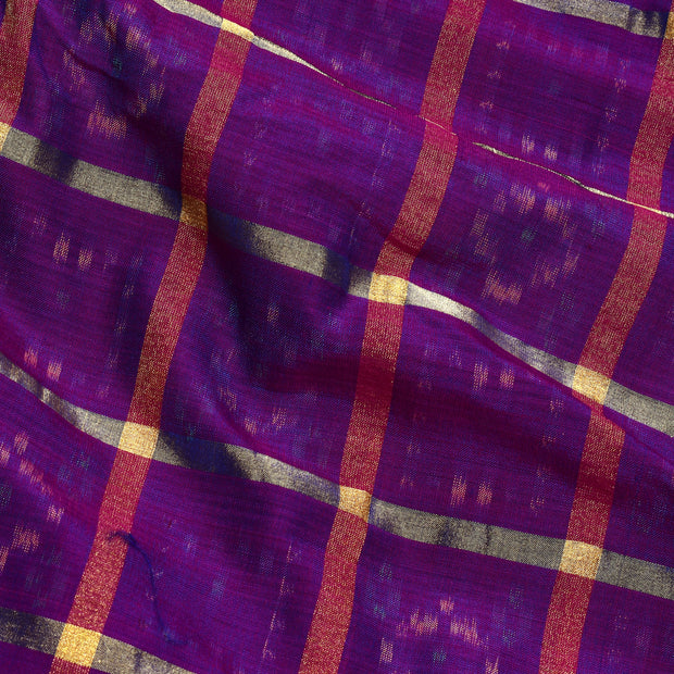 Dual Tone Magenta And Blue Zari Kattam Ikkat Silk Fabric