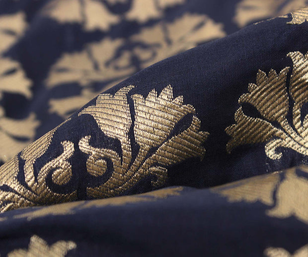 Indigo Blue Banarasi Silk Fabric With Floral Zari Highlights