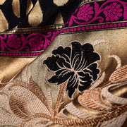Black Gold Zari Banarasi Silk Fabric With Grand Border