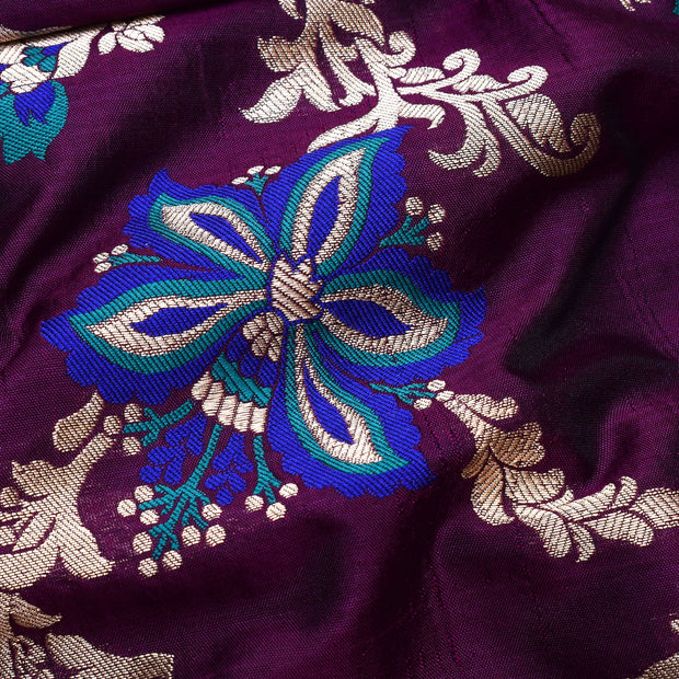 Magenta Floral Zari And Thread Butta Banarasi Silk Fabric