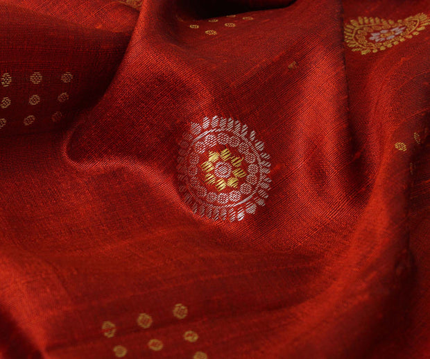 Ruby Red Tussar fabric with Chakra Motif