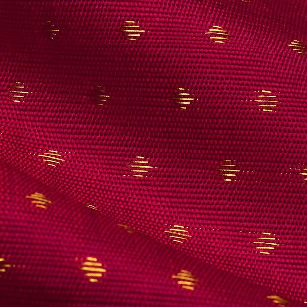 Dark Red  Kuligai Button Kanchi Silk Fabric