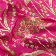 Rose Floral Silver And Gold Zari Banarasi Silk Fabric