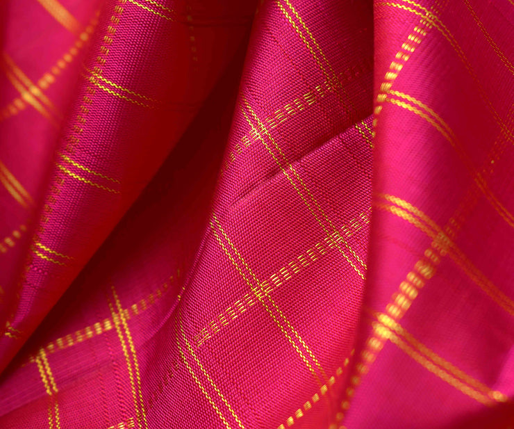 Rose Checked Kanchi Silk Fabric
