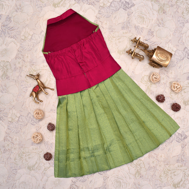 Red With Apple Green Frock