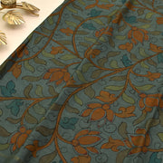 Grey Pen Kalamkari Kanchi Silk Saree With Blouse