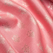 Peach Silver Jewel Button Kanchi Silk Fabric