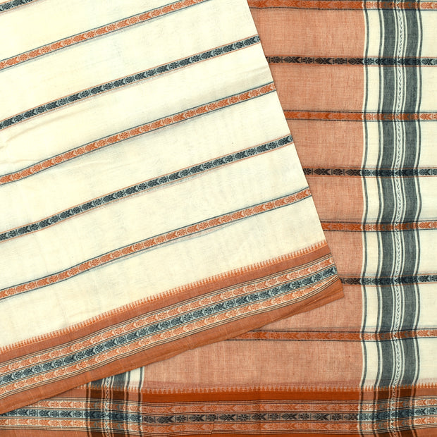 Half White Black And Orange Striped Thread Butta Cotton Saree