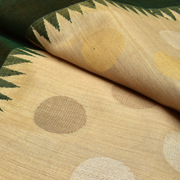 Half White Tussar Fabric With Bottle Green Temple Border And Round Butta Highlighted