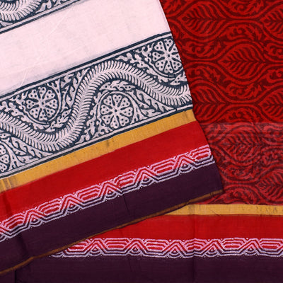 White Printed Bengal Cotton Saree With Red Floral Prnted Blouse