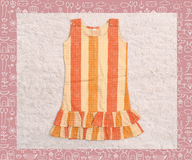 Sabarmathi - Multi color with gold checks frock (2yrs)