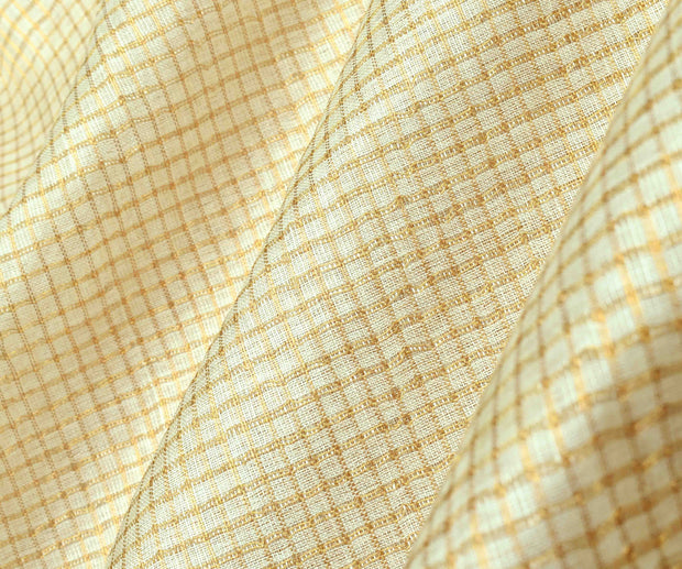 Off White Tussar Fabric  With Gold Checks