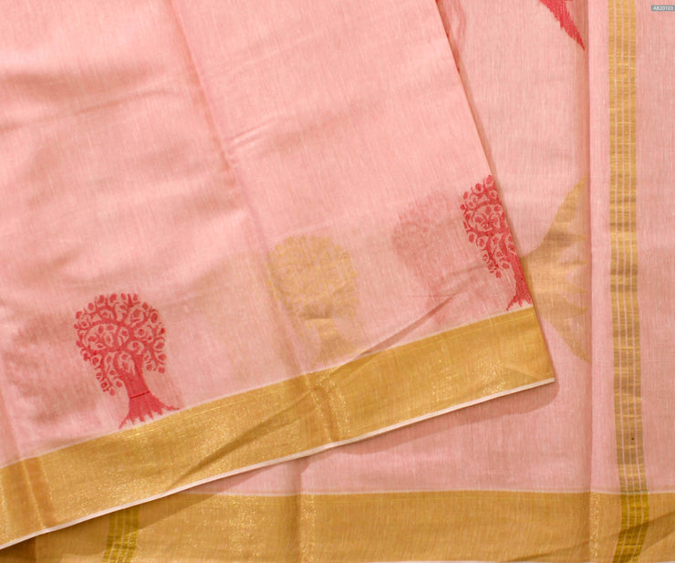 Peach Pink Floral Zari And Thread Zari  Linen Tussar Saree With Gold Zari Border and  Peach Pink Blouse