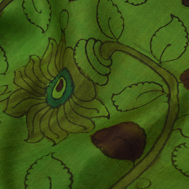 Forest Green Pen Kalamkari Fabric
