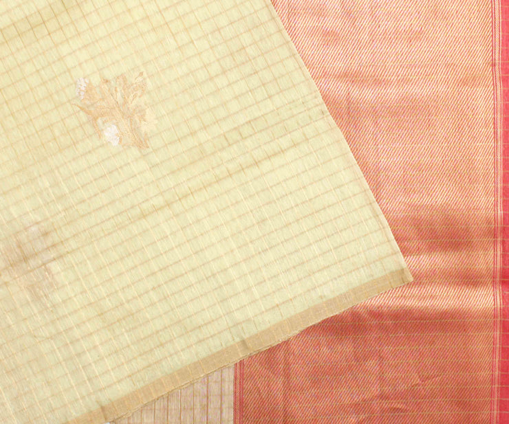 Off White Checked Floral Linen Banarasi Silk Saree With Peach Blouse