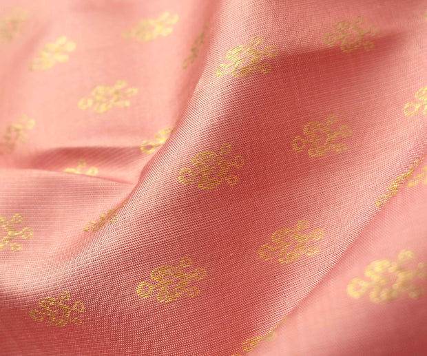 Guava Kanchi Silk Fabric With Jewel Button Design Highlights