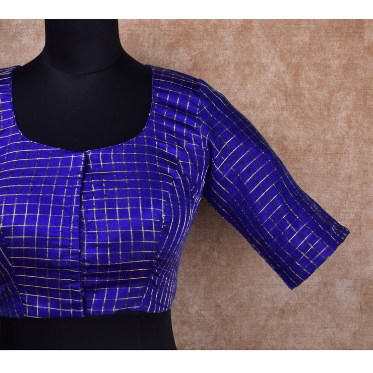 Ink Blue Checked Ready Made Blouse