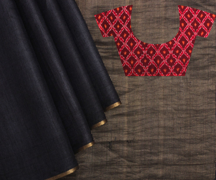 Red Ikat Blouse & Black Tussar Saree