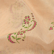 Half White  Floral Printed Kota Cotton Saree With Half White Blouse And Rose Thread Zari Border