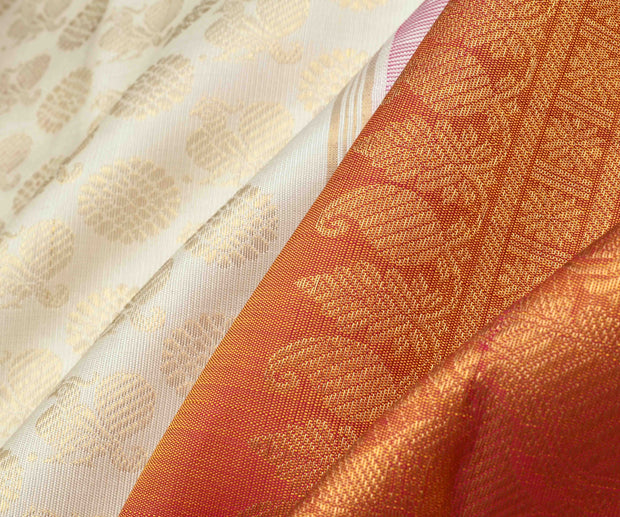 Half White Annapakshi Kanchi Silk  Half and Half Saree With Dual Tone Orange and Rose Pallu and Blouse