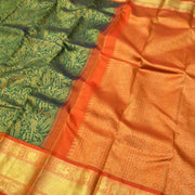Peacock Green Kanchi Silk Saree With Orange Blouse
