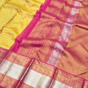 Mustard Kanchi Silk Saree With Rose Blouse