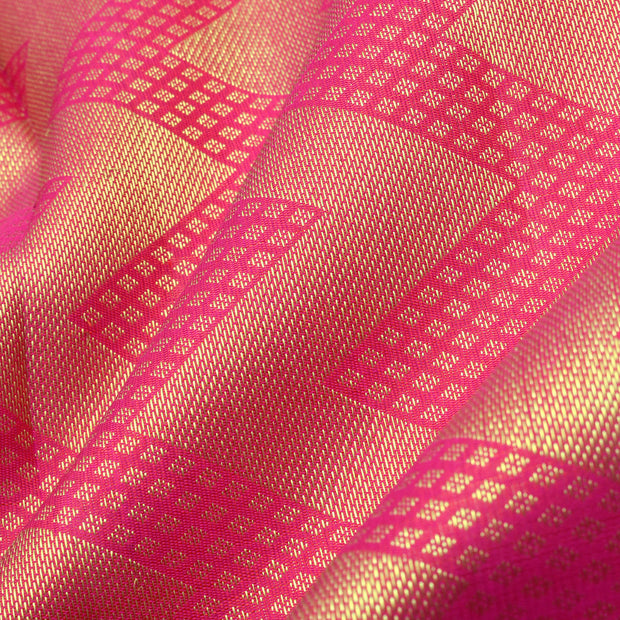 Rose Kanchi Silk Saree With Gold Zig Zag Zari Border With Blouse