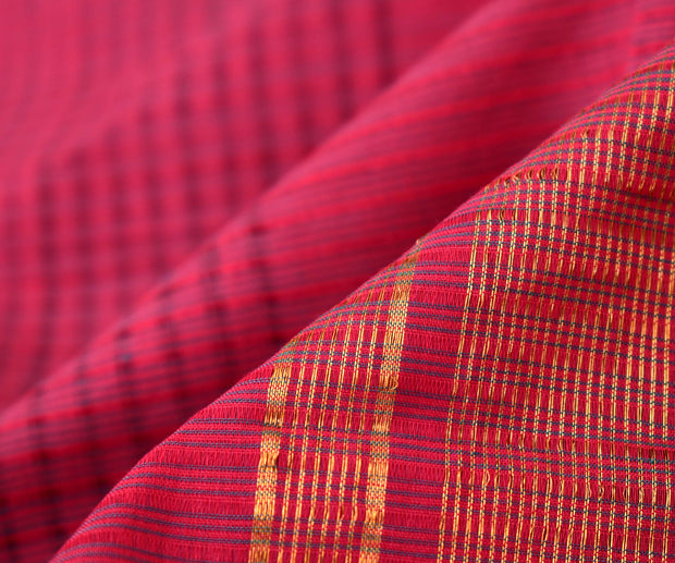 Rose Mangalagiri Cotton Saree With Temple Zari Border Design With Blouse