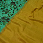 Turquoise Green Pen Kalamkari Kanchi Silk Saree With Blouse
