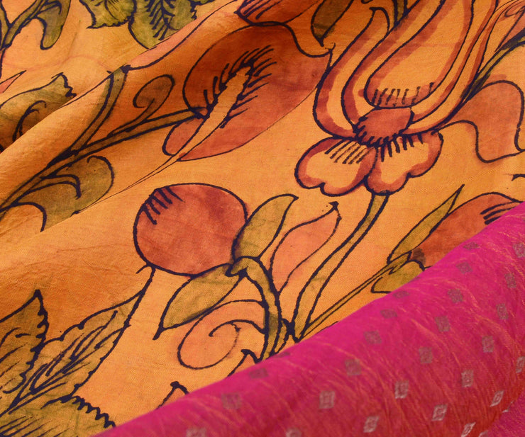 Mustard Multi Floral Pen Kalamkari  Kanchi Silk Saree With Peach Diamond Button Pallu And Blouse