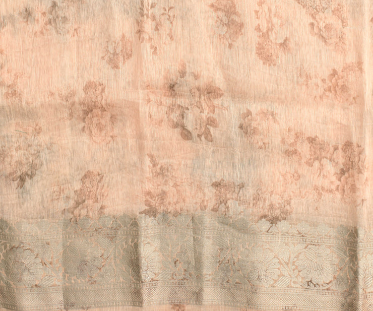 Peach Sorbet Floral Digital Printed Linen Saree With Blouse