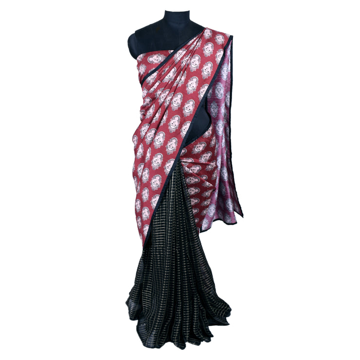 Black Georgette Checked  And Cinnamon Red Kalamkari Tussar Saree With Blouse