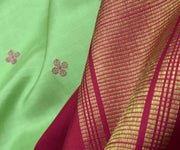 Apple Green Rose Butta Kanchi Silk Saree With Rose Pallu and Blouse
