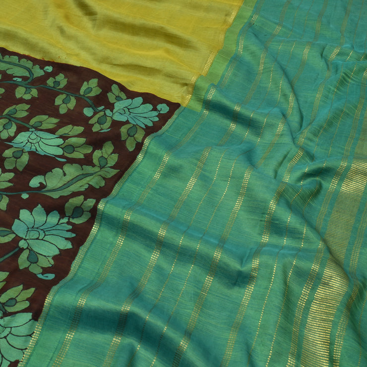 Turquoise Blue With Avacado Green Pen Kalamkari Half And Half Kanchi Silk Saree With Blouse