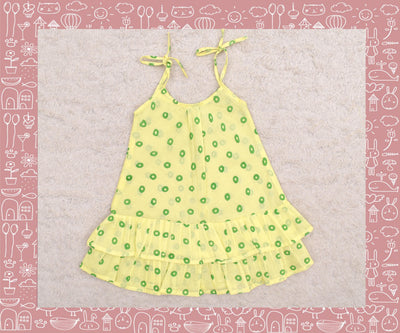 Bhadra - Yellow With Green Circle Printed Frock
