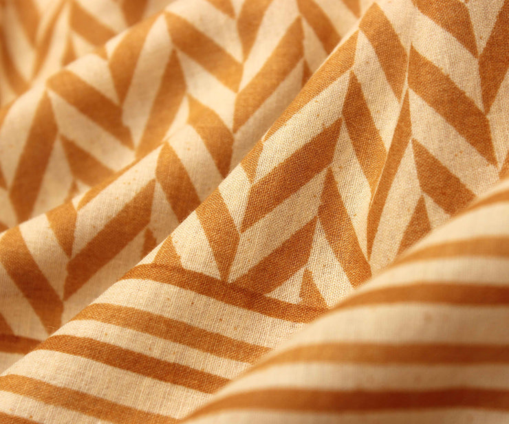 Off White Soft Tussar Saree With Mustard Striped Blouse