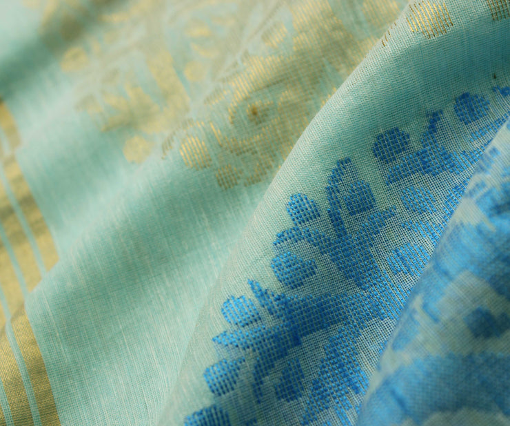 Sky Blue Floral Zari And Thread Zari  Linen Tussar Saree With Gold Zari Border and  Sky Blue Blouse