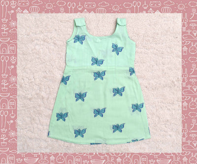 Indravati - Apple Green With Green Butterfly Printed Frock