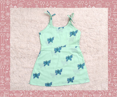 Bhagirathi - Sea Green With Rexona Blue Butterfly Printed Frock