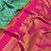 Turquoise Blue Kanchi Silk Saree With Blouse
