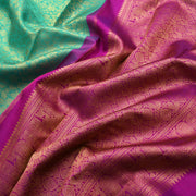 Turquoise Blue Kanchi Silk Saree With Purple Blouse